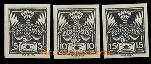 28947 - 1920 Pof.143, 145, 147ZT, black prints on white paper withou