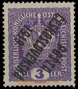 29094 -  Pof.33P, 3h violet Crown  with inverted opt, repaired gum,