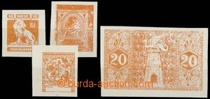 29098 - 1919 comp. 4 pcs of designes on/for post. stamp., Lion, Ži�