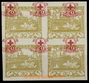 29149 - 1920 Pof.170Nc, imperforate block of four Hradčany 30h yell