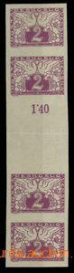 29161 - 1919 Pof.S1Ms, 2h violet in 4-stamps přeloženém gutter, e
