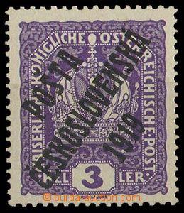29181 -  Pof.33x overprint T. II, 3h violet Crown on thick paper, su