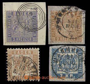 29193 - 1860-62 comp. 4 pcs of stamp., Mi.10, 15, 20 and 25, from th