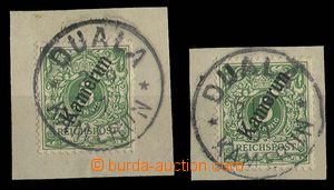 29196 - 1897 CAMEROON  2 pcs of cut-squares with stamp. Mi.2 with wh