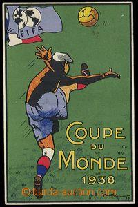 29205 - 1938 FOTBAL, mistrovství ve Francii, barevná pohlednice plak