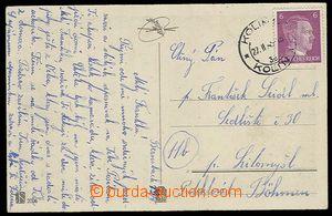 29209 - 1945 pohlednice vyfr. německou (!) zn. 6Pf AH s DR Kolín 2