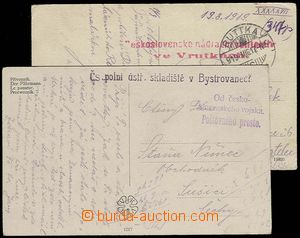 29219 - 1919 2 pcs of Ppc with cancel. Czechosl. field ústř. stora