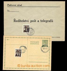 29222 - 1940 Hranické provizorium  dopisnice a úřední obálka s