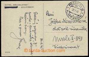 29227 - 1945 nevyfrankovaná pohlednice (Holoubkov) s otiskem protek