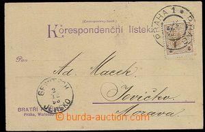 29274 - 1898 firemní lístek Bratří Perutz vyfr. zn. 2Kr s perfin