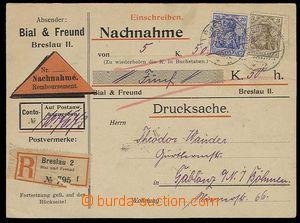 29282 - 1908 NĚMECKO  vyfr. firemní R dobírkový lístek zaslaný