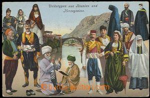 29293 - 1908 MOSTAR -  barevná koláž, lidové kroje v pozadí Mos