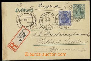 29306 - 1909 PC 5Pf Mi.P58, sent as Reg, uprated with stamp 25pf Ger