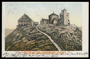 29314 - 1907 KRKONOŠE - Sněžka, barevná litografie, budovy na Sněžce