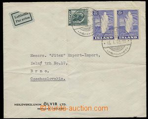 29327 - 1948 commercial air-mail letter sent from Reykjavíku to Cze