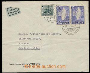 29327 - 1948 firemní letecký dopis zaslaný z Reykjavíku do ČSR, vyfr