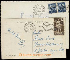 29331 - 1936-49 TERST  2ks pohlednic, 1x vyfr. zn. Mi.549 se SR Trie
