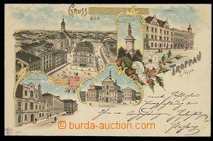 29334 - 1909 OPAVA - litografická koláž, DA, prošlá, v růžcích lehce