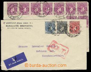 29342 - 1946 sestava 2ks dopisů do ČSR s bohatými frankaturami v�