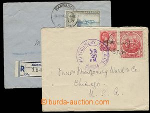 29356 - 1918-50 BARBADOS 2 pieces of letters, 1x to USA, postage wit