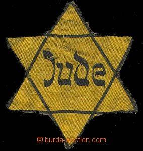 29383 -  ŽIDOVSKÁ HVĚZDA  žlutý textil s černým potiskem