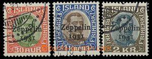 29404 - 1931 Mi.147-9, overprint Zeppelin 1931, nice, c.v.. 270€