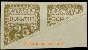 29418 - 1919 Pof.DL5, 25h as Pr, print on gummed side with folded pa