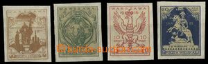 29429 - 1916 WARSAW  town post, unissued issue, Mi.III-VI, č.IV with
