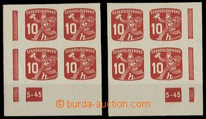 29437 - 1945 Newspaper stamps  L and R corner blk-of-4 with plate ma