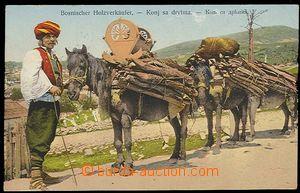 29456 - 1909 převoz dřeva na koních, barevná, prošlá, DR ILID�