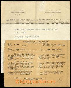 29467 - 1939-43 ČaM  sestava 4ks Protektorátních listin: Průkaz