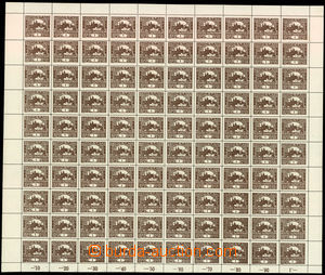 29496 -  Pof.1, 1h brown, complete perf 100-stamps sheet with margin