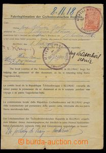 29497 - 1918 Czechoslovakia  Fahrtlegitimation for Czech staffer in/
