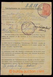 29497 - 1918 ČSR  Fahrtlegitimation pro českého zaměstnance v to