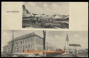 29536 - 1933 HRADEŠICE - čb 3-záběrová, škola, kostel, náves, prošlá