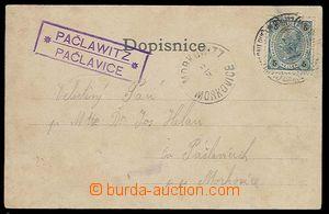 29545 - 1902 pošt. PAČLAWITZ/ PAČLAVICE, fialové, DR hůře čit