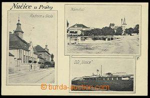 29547 - 1914 NUČICE - čb 3-záběrová, radnice, náměstí, důl Vinice, p