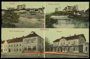 29553 - 1910? PŘEŠTICE - barevná 4-záběrová, mj. nádraží, náměstí, ú