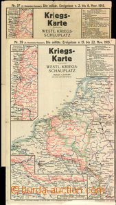 29583 - 1915 war map  No.57 and 59, German plans front on/for Evrops