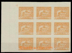 29589 - 1920 Mi.III., trial print unissued stmp in/at blk-of-9, valu