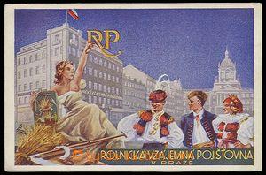 29602 - 1930? reklamní pohlednice Rolnické vzájemné pojišťovny