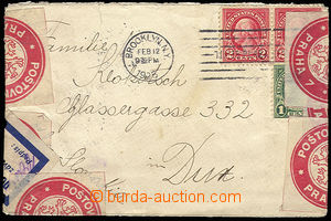 29667 - 1925 letter from USA came damaged, sticked up bulk postage c