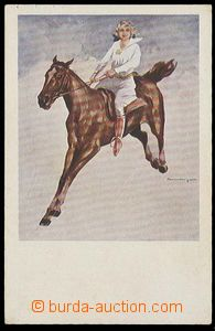 29683 - 1930? horse, woman mounted, painted, issue Economic/Agricult