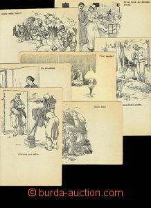 29684 - 1915? collection 7 pcs of drawn Ppc on/for toned paper, publ