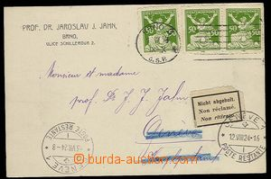 29700 - 1924 card to Switzerland on/for main post in/at Geneva, nevy