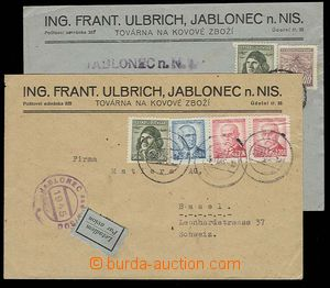 29709 - 1945 2 pcs of commercial letters sent to Švýcarska(!) with