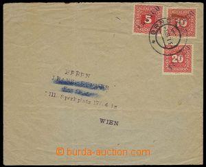 29711 - 1919 dopis do Rakouska provizorně vyfr. rak. doplatními zn.