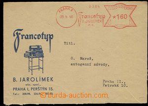 29744 - 1946 analogická celistvost s přítiskem fy Francotyp B.Jar