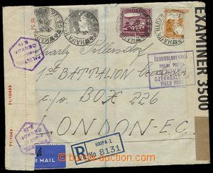 29750 - 1941 Reg and airmail letter Haify 21.Sp.41 to member of Czec