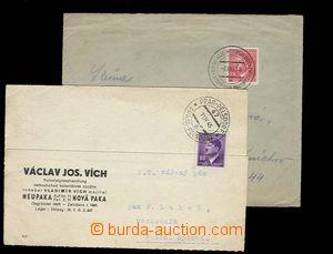 29768 - 1943-45 2ks celistvostí s raz. VLP. 1x firemní lístek s r